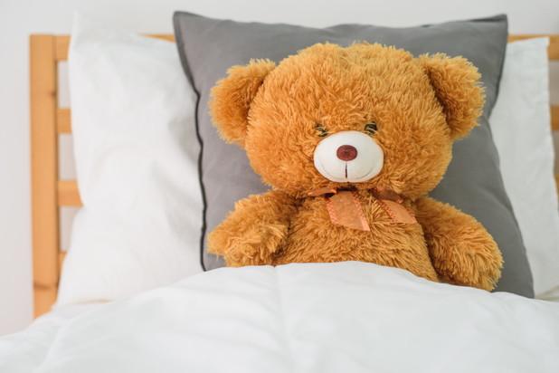 Teddy bear on the bed